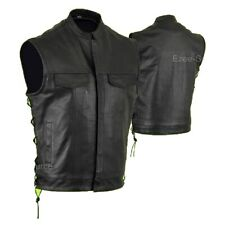 SOA MOTORCYCLE NAKED  LEATHER VEST w/ LACES & GUN POCKETS CLOSEOUT SALE- V7B