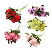 9Heads Artificial Rose Flowers Silk Bouquet Bridal Home Vase Decor DIY