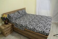 Zebra Print 100% Egyptian Cotton 1000 TC 35 Cm Drop 4 PCs Sheet Set