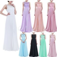 Women Formal Long Embroidered Chiffon Dress Prom Evening Gown Bridesmaid Party