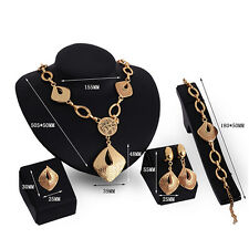 Lady Gold Plated Hollow Necklace Ring Earrings Bracelet Jewelry Set Rapture
