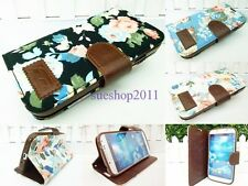 Womens Flowers Printed Leather Wallet Stand Case Cover For Various Smart Phones