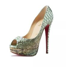 Christian Louboutin LADY PEEP Python Tropicana Platform Pump Shoes RedHeel $1545