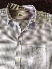 Super Cool 100% Genuine Mens Lacoste Short Sleeve Check Shirt In Size 46, XXXL
