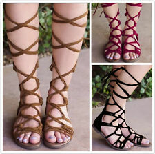 New Women's Strappy Roman Gladiator Knee High Sandals Boots Cut Out Beach Shoes