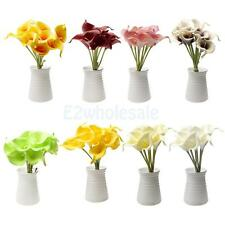 9Pcs Artificial PU Real Touch Calla Lily Fake Flower Wedding Home Decor Stem
