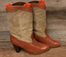 WOMENS LEATHER / SUEDE LIZARD PRINT STACKED HEEL VINTAGE COWBOY BOOTS SZ 8.5M