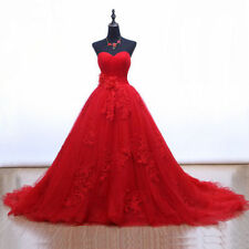 Custom Tulle Applique Red Wedding Dress Sweetheart Bridal Dresses Ball Gown 4-28