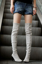 Womens Pointy Toe High Heel Kitten Heel Pull On Knee High Boots Shoes ALL US Sz