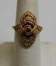 18K GOLD RING WITH DIAMONDS AND RED STONES SIZE 6.5 3.6G