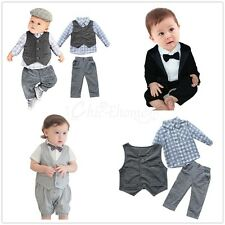 Newborn Kids Baby Boys Suit Outfits Clothes Gentleman Jumpsuit Romper Bodysuit