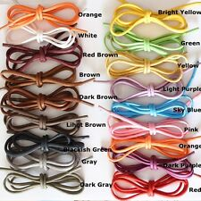 "17 Colored Waxed Cotton Dress Shoelaces Round Oxford Shoe Laces Strings 30"" 35"""