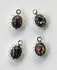 VINTAGE GLASS OVAL PENDANT BEADS LACE EDGE • 10x8mm • SILVER PLATED • Assorted