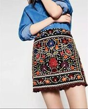 Autumn Fashion Ethnic Flower Embroidery a-line Cotton Material Skirt for Women