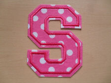 Large Pink & White Spot Patterned Felt Letter - Height 13cm - Iron On Or Sew On