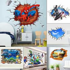 Removable 3D Breakthrough Wall Decals Wall Stickers Kids Bedroom Decor Mural Art