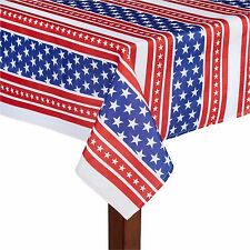 American Flag Printed Tablecloth Red White Blue Fabric Americana Patriotic Asst