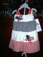 2pc RARE EDITIONS PATRIOTIC Butterfly DRESS BLOOMERS July 4th outfit NWT