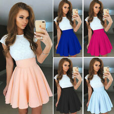 Beauty Women Lace Short Sleeve Pleated Cocktail Party Skater Short Mini Dress