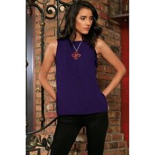 Purple Floral Sleeveless Trendy Cute Dressy Spring Cocktail Top - Women