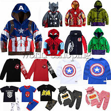 SUPER HERO Kids Boy Clothes Spiderman Hoodies T Shirt Top Pants Coat Outfits Set