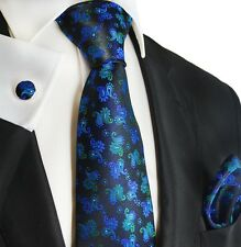 Blue, Green and Black Paisley Silk Necktie Set by Paul Malone