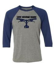 Mountain Bike T-shirt- Life Behind Bars- Bicycle T-shirt-Baseball tee in blue