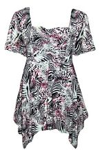 YUMMY PLUS 2X 3X Pink & Black Empire Shark Bite Hem Tunic Top Blouse-NWOT