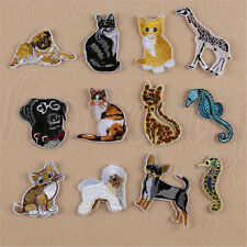 2pcs Iron Sew on Embroidered Badge Animal Giraffe Cat Dog Bag Patch Applique New