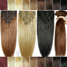 100% Real Glossy Thick Clip in Remy Human Hair Extensions Double Weft 200g BS244