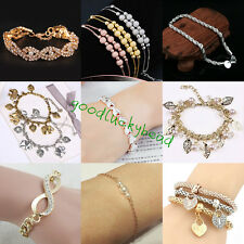 Exquisite Womans Gold-plated Lady Cuff Bangle Charm Jewelry Crystal Bracelet