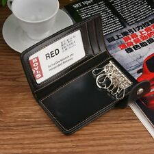 Soft Leather Unisex Key Case Credit Card Money Clip Wallet Keychain Keys Holder