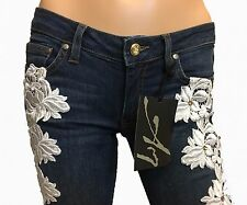 Womens Embellished Jeans White Floral Lace Stretch Skinny Swarovoski Crystal