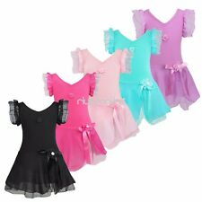 Girls Kids Gymnastics Ballet Dress Leotard Tutu Skirt Party Dance Wear Costume