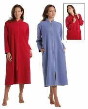 Ladies Zip Soft Fleece Dressing Gown, Zipped Robe With Satin Trim Rose Pink Blue
