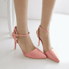 Hot Women Patent Lether Pointy Toe High Heel Ankle Strap Slingback Sandals Shoes