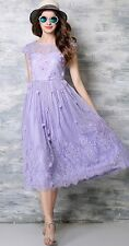 Women Summer Lace Patchwork Petal Sleeve Fit And Flare Pleated Dress