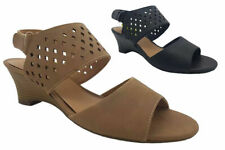 Ladies Shoes Grosby Daniella Cut Out Wedge Heels Sandals Size 6-11 Black or Nude