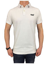 Superdry Mens Classic Fit Pique Polo Shirt in Optic White