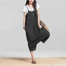 Women New Loose Waist Plus Size Casual Spaghetti Strap Black Color Dress