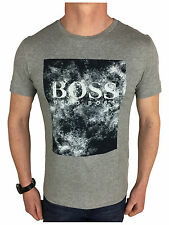 Hugo Boss Mens Orange Label Logo Branded T-Shirt in Light Grey