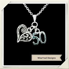 50TH BIRTHDAY GIFT NECKLACE.VARIOUS CHARMS.STERLING SILVER CHAIN OPTION.GIFT BOX
