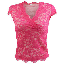 Womens V-Neck Sleeveless Casual Floral Lace Vest Summer T-Shirt Tops Blouse