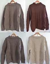 100% WOOL VINTAGE CABLE KNIT JUMPER OVER SIZE WOOLLEN HAND KNITTED JUMPER UNISEX