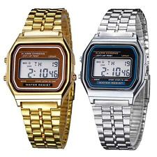 Retro Women Men Stainless Steel LED Digital Alarm Sport Stopwatch Wrist Watch AS