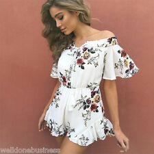 Gamiss Sexy Off Shoulder Floral Print Playsuit Women High Waist Beach Playsuit
