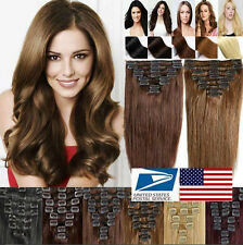 100% Real Natural Clip in Remy Human Hair Extensions Silky Extensions Full Head