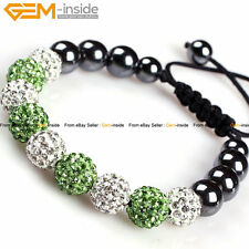 10mm Hematite Pave Disco Ball Beads Clay Rhinestone CZ Crystal Jewelry Bracelets