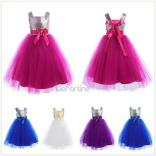 Girls Flower Dress Formal Kids Sequins Tulle Bridesmaid Princess Wedding Party