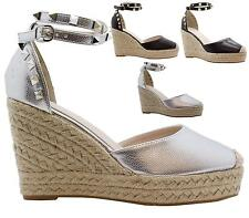 Womens Ladies Platform Wedge Platform Studded Ankle Buckle Cut Out Ankle Shoes